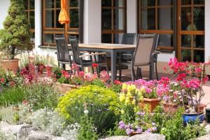 outdoor furniture with garden