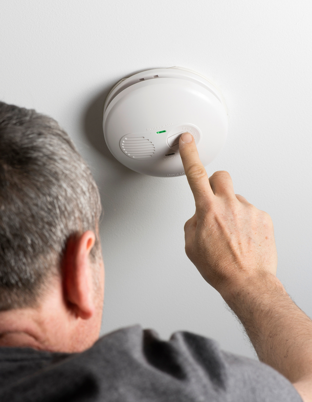Testing a home smoke alarm